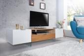 TV Lowboard Onyx 160cm weiss Glas-Eiche/ 36201