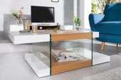 Couchtisch Onyx 110cm weiss Glas-Eiche/ 36199