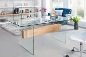 Schreibtisch Onyx 160cm weiss Glas-Eiche/ 36202