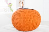 Pouf Leeds 50cm orange aus Strick/ 36315