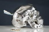 Spardose Skull 20cm silber/ 36364