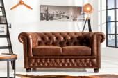 Sofa Chesterfield 2er vintage Spaltleder/ 37201