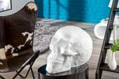Skulptur Totenkopf Skull 40cm weiss/ 37134