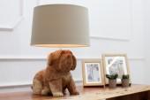 Tischleuchte Dog 50cm Walnuss/ 37212