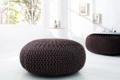 Pouf Leeds 75cm dark coffee aus Strick/ 37380