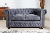 Sofa Chesterfield 2er grau Antik Look/ 37390
