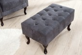 Fußhocker Chesterfield grau Antik Look/ 37474