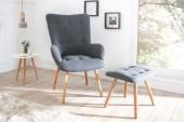 Set Sessel und Hocker Scandinavia grau/ 37886