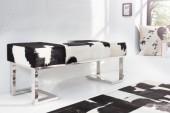 Sitzbank Rodeo 110cm schwarz weiss Echtfell/ 37453