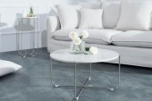 Couchtisch Noble weiss Marmor silber/ 38009