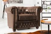 Sessel Chesterfield vintage braun Spaltleder/37200