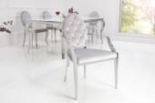 Stuhl Modern Barock m. Armlehne grau/ 38343