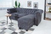 Fußhocker Chesterfield antik grau/ 38520
