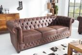 Sofa Chesterfield 3er vintage Spaltleder/ 37202