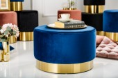 Hocker Modern Barock 55cm blau gold/ 38579