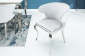 Stuhl Modern Barock II Samt grau/ 38872