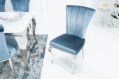 Stuhl Modern Barock III Samt silberblau/ 38873