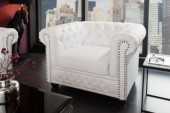 Sessel Chesterfield weiss matt m. Nieten/ 11223