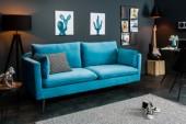Sofa Famous 3er 210cm blau Samt/ 39024