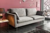Sofa Famous 3er 210cm silbergrau Samt/ 39023