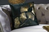 Samtkissen goldene Blätter dunkelgrün/ 39174