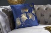 Samtkissen goldene Blätter dunkelblau/ 39211
