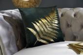 Samtkissen goldenes Farnblatt dunkelgrün/ 39213