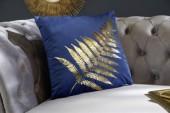 Samtkissen goldenes Farnblatt dunkelblau/ 39215