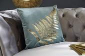 Samtkissen goldenes Farnblatt mint/ 39216