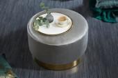 Hocker Modern Barock 55cm silber gold/ 39245