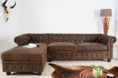 Ecksofa Chesterfield antik braun OT links/ 39329