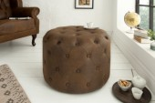 Hocker Chesterfield 60cm antik braun rund/ 39424