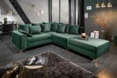 Ecksofa Loft 220cm smaragdgrün Samt Hocker/ 39831
