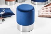Hocker Modern Barock 35cm blau silber / 39605