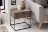 Nachttisch Iron Craft 45cm grau Akazie/ 39590