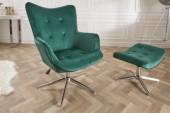 Drehstuhl Lounger 100-110cm smaragdgrün Samt/39512