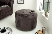 Hocker Chesterfield 60cm dark coffee rund/ 39422