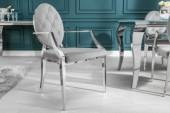 Stuhl Modern Barock m. Armlehne edel-grau/ 38343