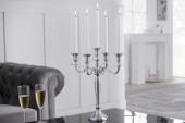 Kerzenständer 5-armig 41cm silber/ 17363