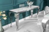 Konsole Modern Barock 145cm silber Marmor/ 39997