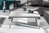 Couchtisch Modern Barock 100cm silber Marmor/ 39998