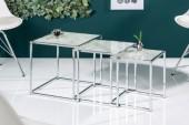 Beistelltisch Elements 3er Set Glas weiss/ 40047