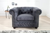 Sessel Chesterfield II grau antik/ 40519