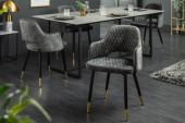 Stuhl Paris Samt grau grün/ 40574