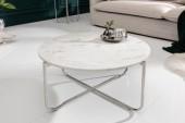 Couchtisch Noble 62cm Marmor weiß silber/ 40361
