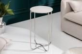 Beistelltisch Noble I 35cm Marmor weiß silber/ 40365