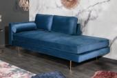 Recamiere Diva 195cm Samt blau/ 40604