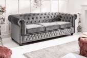 Sofa Chesterfield 3er Samt grau/ 40482