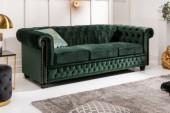 Sofa Chesterfield 3er Samt grün/ 40483