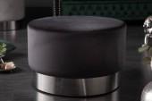 Hocker Modern Barock 55cm schwarz silber / 40726